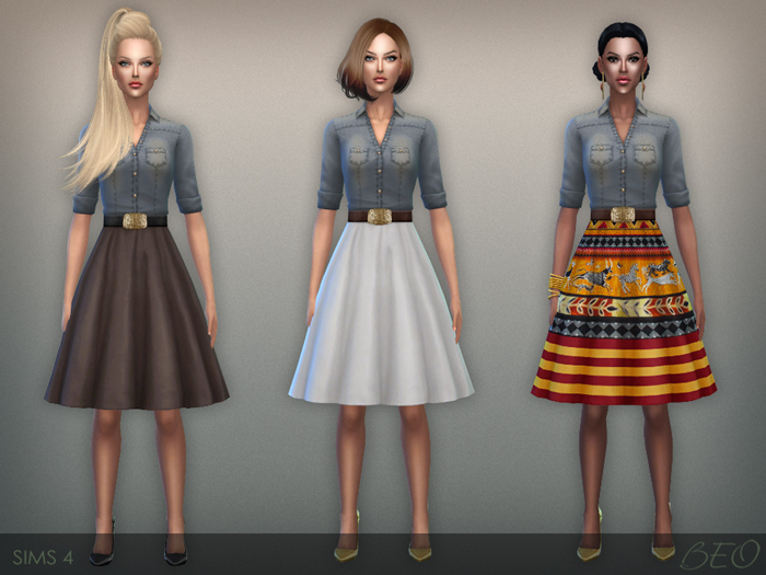 Button shirt and fluffy skirt dress for The Sims 4 by BEO
