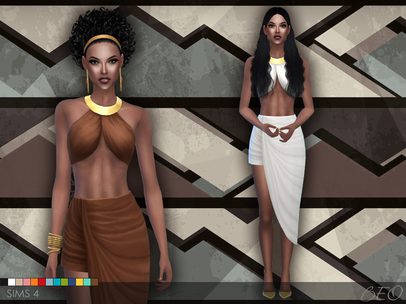 Draped skirt and top for The Sims 4 by BEO