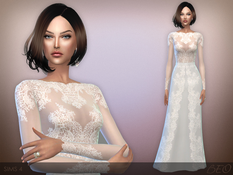 Lace long dress for The Sims 4 by BEO