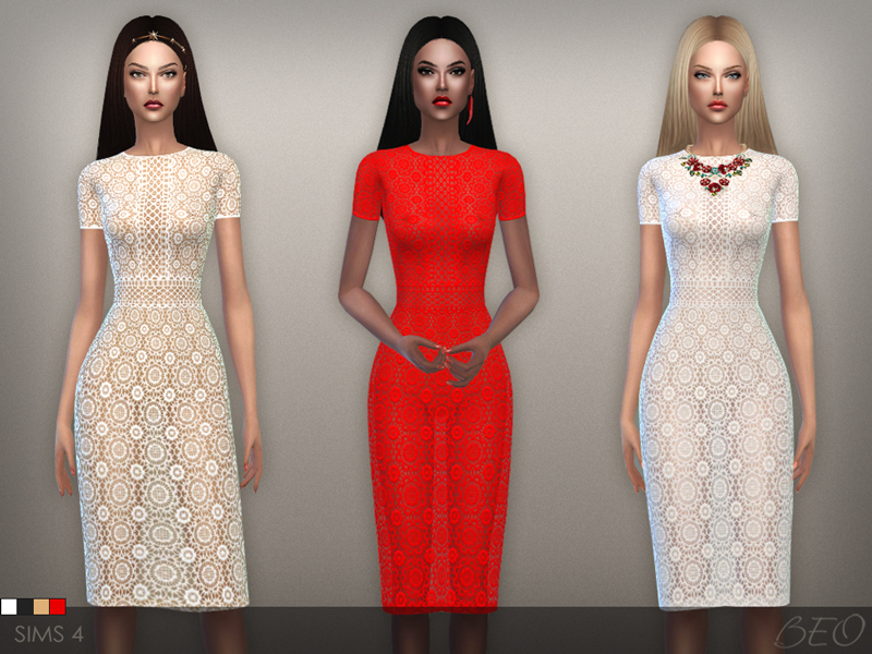 Lace midi dress for The Sims 4 by BEO