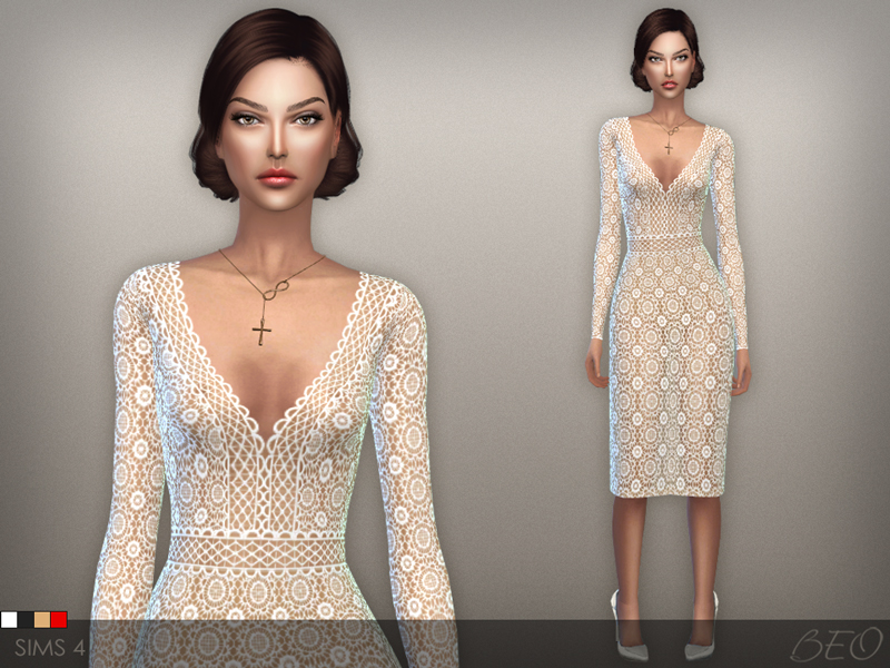 Lace midi dress 02 for The Sims 4 by BEO