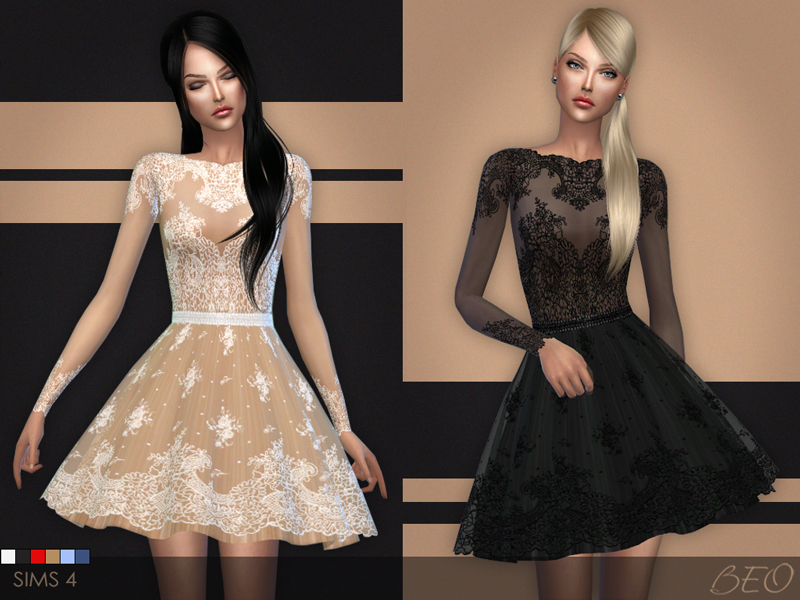 Lace short dress for The Sims 4 by BEO