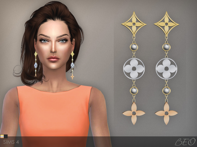 LV monogram idylle earrings for The Sims 4 by BEO (2)