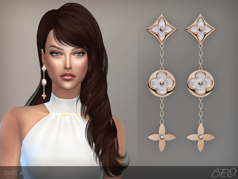 LV monogram perle earrings The Sims 4 by BEO