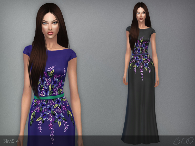 Multicolored embroidered dress for The Sims 4 by BEO