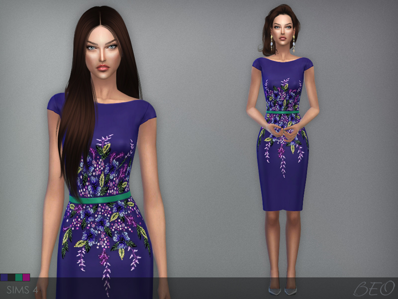 Multicolored embroidered short dress for The Sims 4 by BEO