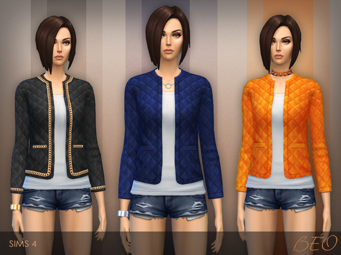 Quilted jacket for The Sims 4 by BEO