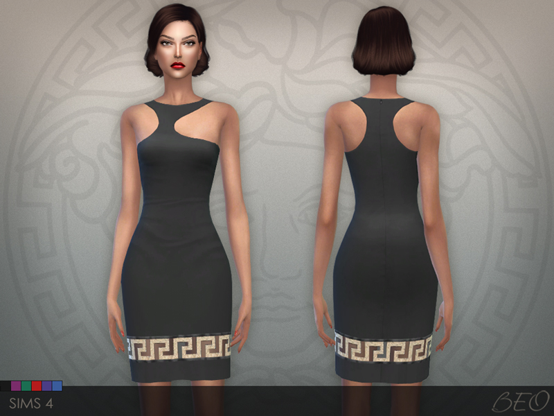 Versace Greca Mini Dress for The Sims 4 by BEO