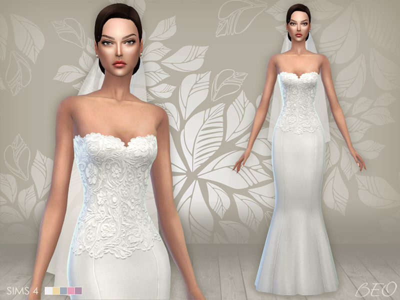 Wedding dress 02 and veil for The Sims 4 by BEO (1)