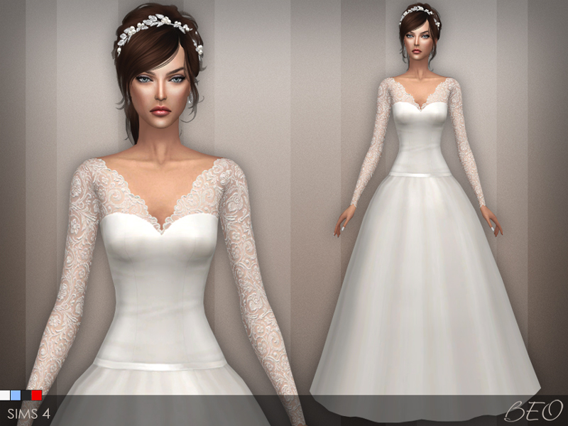 Wedding dress 25 V2 for The Sims 4 by BEO