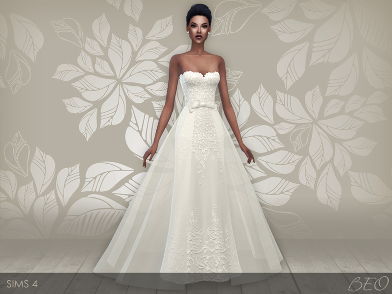 Wedding dress 28 v2 for The Sims 4