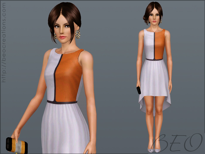 Asymmetric color dress for The Sims 3 by BEO (1)