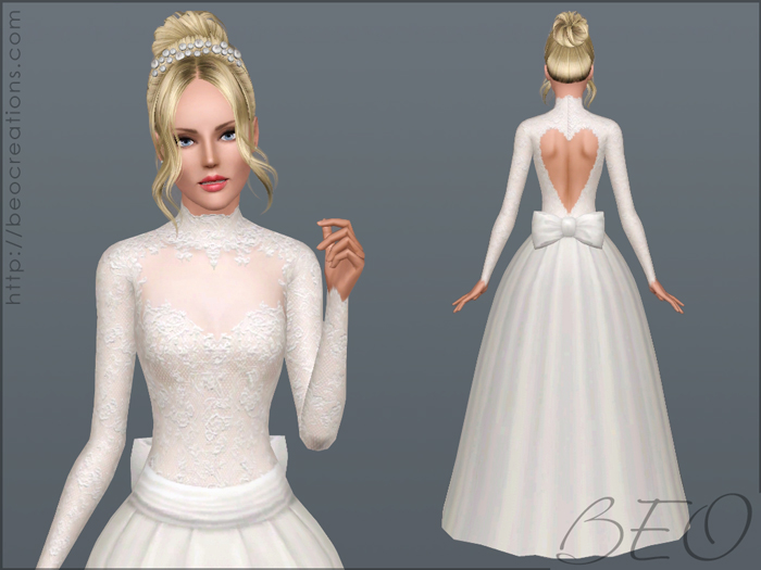Valentine's Wedding dress for Sims 3 by BEO (1)