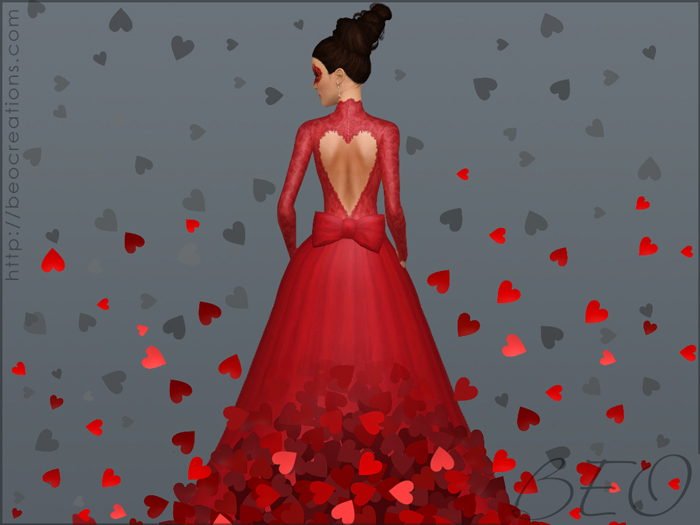 Valentine's Wedding dress for Sims 3 by BEO (3)