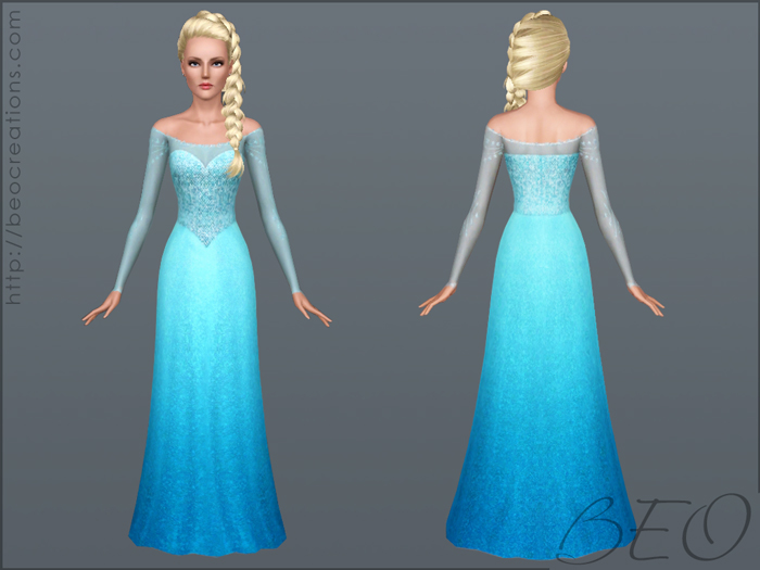 Elsa's dress (Frozen) for Sims 3 by BEO (2)